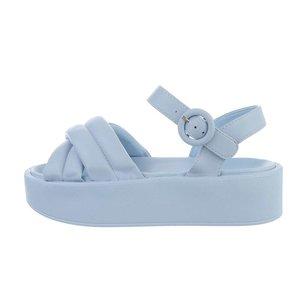 Blauwe platform sandaal Juliette.