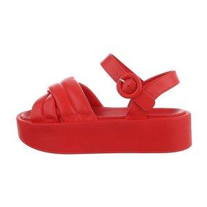 Rode platform sandaal Juliette.